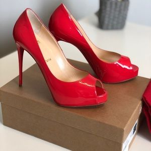 Christian Louboutin Prive Red Patent Pumps 38.5